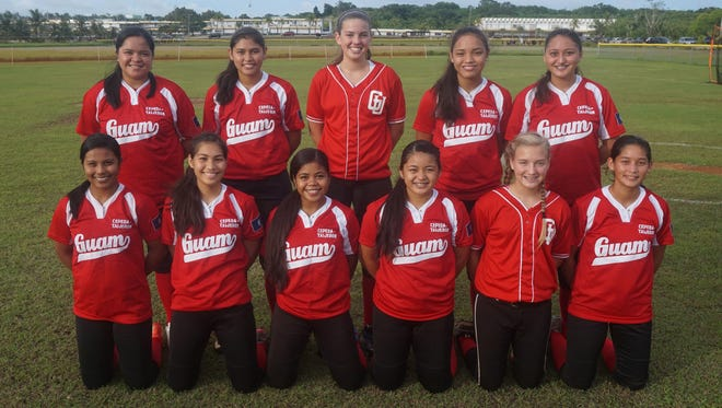 Seawalker Guam, an 18-and-under fastpitch softball team, will compete at the Premier Girls Fastpitch National Championships in California in late July. The team practices at George Washington High School and includes, front from left, Tiana Perez, Jasmine Tereas, Audrey George, Meagan Maratita, Abigail Mravlja, Colleen Quinata, back from left, Ciara Cali, Sam Quinata, Madison Mravlja, Sirena Cepeda and Juliana Nelson. Kiana Rivera and Britney Blau are not pictured.