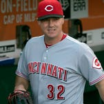 Reds right fielder Jay Bruce walks through the dugout before the July 26 game against the San Francisco Giants at AT&T Park.