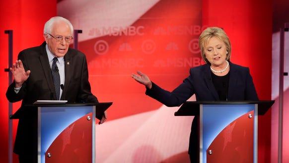 Hillary Clinton and Bernie Sanders at the Feb. 4, 2016,