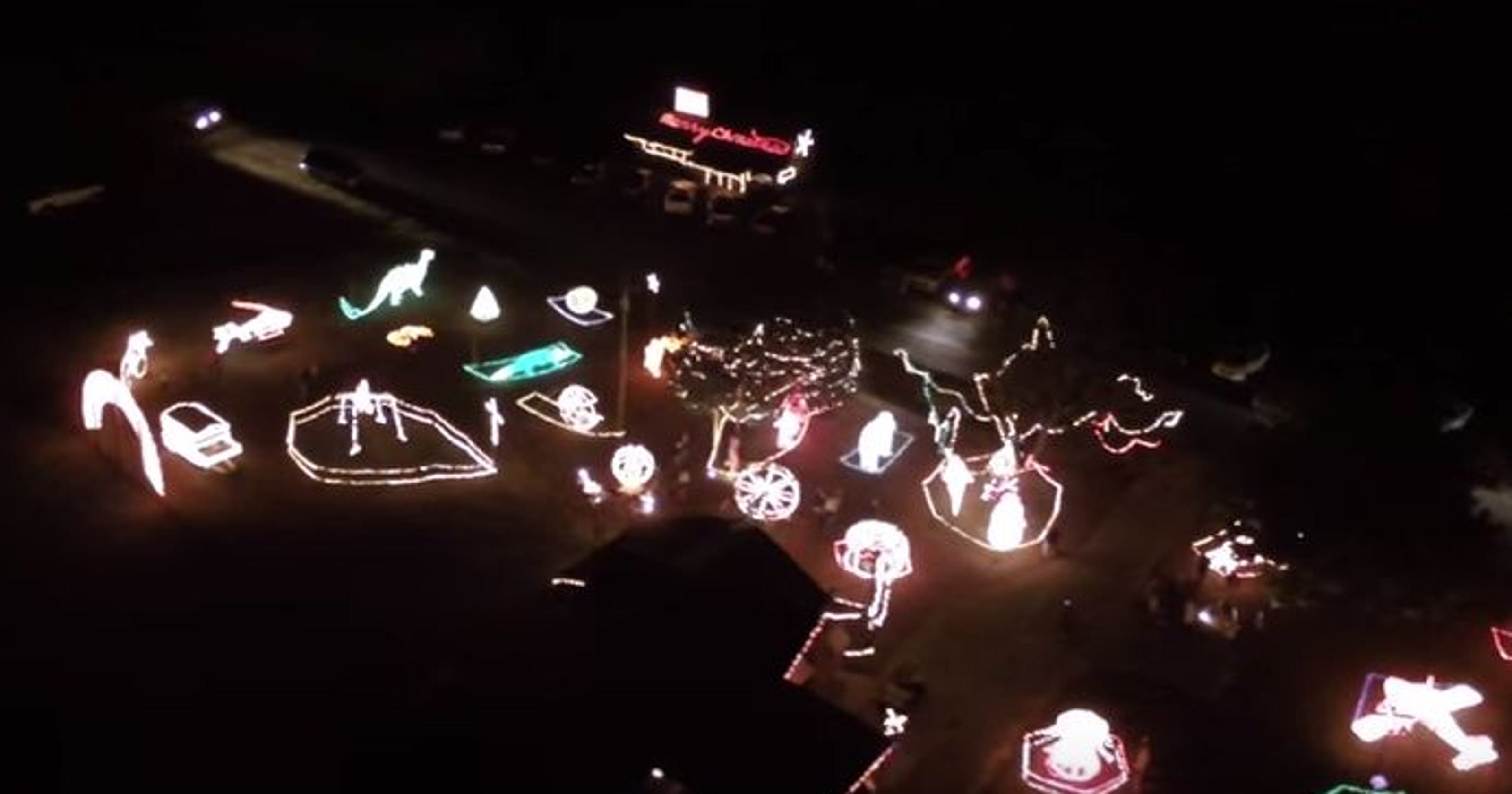 Video: Aerial view of Christmas lights in Alabama