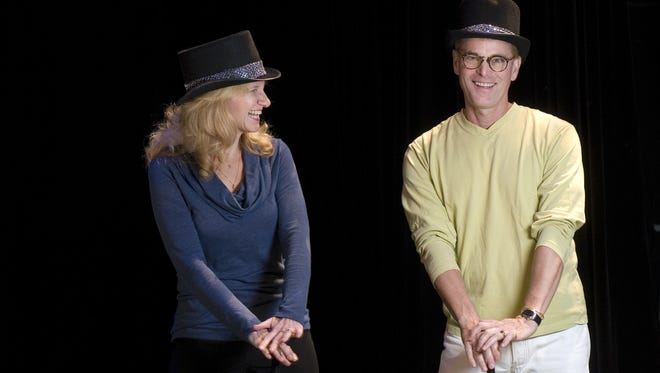 "Broadway performer Larry Alexander is a regular at professional theater company TheatreZone in Naples. He's pictured here with choreographer Karen Molnar in a rehearsal for the 2011 production of ""Company."""
