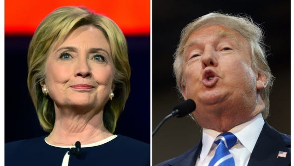 Presidential candidates Hillary Clinton (left) and