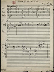 """Aaron Copland's handwritten manuscript of """"Fanfare for the Common Man,"""" first page, from the Aaron Copland Collection, Music Division, Library of Congress."""