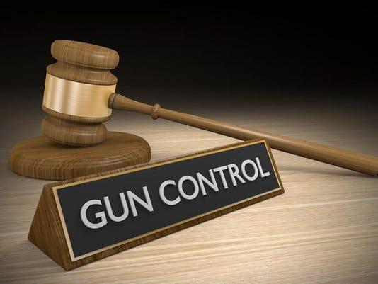Gun control laws and court legal battle concept