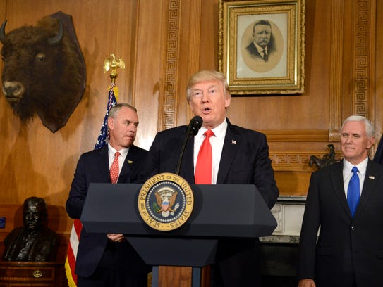 President Trump, Vice President Mike Pence and Interior