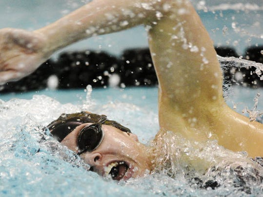 Erin Merkle shown breaking the 500 free pool record at high school alma mater York Suburban in December of 2012.
