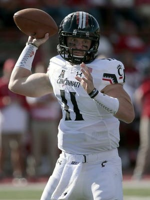 Gunner Kiel was injured in last week's game at Miami, but UC coach Tommy Tuberville says Kiel is probable to play against Memphis.