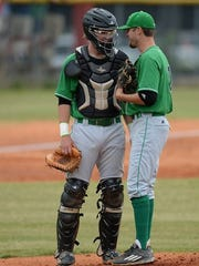 Catcher Austin Morgan (USC Upstate), left, and pitcher Logan Chapman (South Carolina) aare two of the eight seniors on Easley's roster who have either signed with or committed to colleges.