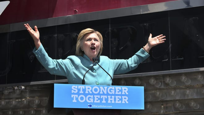 Democratic presidential candidate Hillary Clinton speaks July 6, 2016, on the Boardwalk in Atlantic City, N.J.