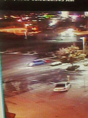 A submitted photo of security video footage showing the car believed to have been driven by two men accused of attempting to rob another man at gunpoint early Monday morning at a Sparks parking lot.
