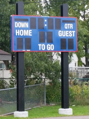 The KB Willet football field, home of the P.J. Jacobs Patriots, received a new scoreboard thanks to generous donations by Bushman Electric Crane and Sign and the SPASH football team.