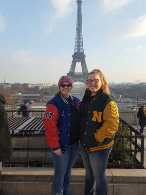 Union County's Emma Adams, left, and Northeastern's Katie Schneider played against each other in the Netherlands in the offseason. The two will met again Wednesday in a TEC showdown.