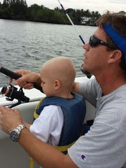 Fishing is a favorite pastime that Brad Nolin has passed along to both of his sons. Brad is pictured with son Brody.
