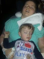 Sharista Giles and her 3-year-old nap together recently.