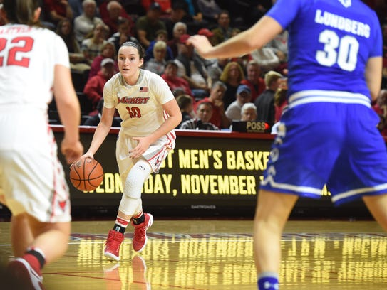 Marist's Maura Fitzpatrick takes the ball down the court during a November 2016 game against Seton Hall.