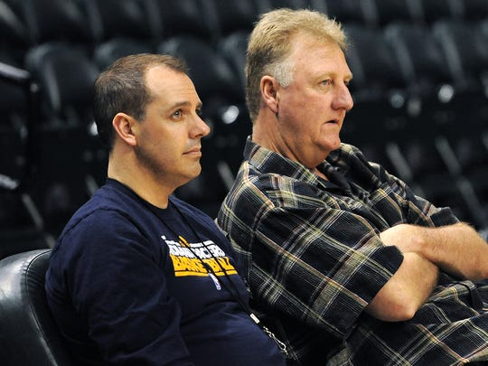 Indiana Pacers head coach Frank Vogel and Larry Bird, president of basketball operations, watch the end of practice inside Bankers Life Fieldhouse, April 23, 2014.