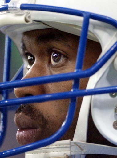 12/1/02 --- Indianapolis Colts Marvin Harrison gets ready to take the field in the fourth quarter of their game against the Houston Texans Sunday afternoon at the RCA Dome. (Matt Kryger Photo) with story File #78209