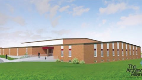 An architectural rendering of what the added Eldon Middle School building space might look like after completion.