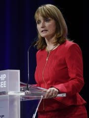 Republican gubernatorial candidate Beth Harwell speaks at a candidate forum at Lipscomb University's Allen Arena on May 15, 2018, in Nashville. Leadership Tennessee was the presenting sponsor of the forum.