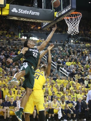 Miles Bridges and Michigan State got blown out 86-57 last year at Michigan. The Spartans host the Wolverines on Saturday in their only meeting this season.
