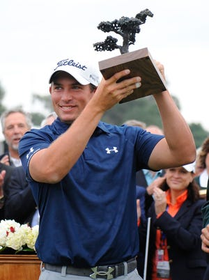 Scott Stallings celebrates his victory at Torrey Pines, the third PGA title of his career.