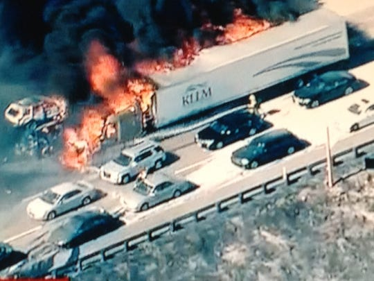 A wildfire has swept across a Southern California freeway and burned several vehicles.  It's not immediately clear whether anyone is hurt in the blaze that broke out Friday afternoon along Interstate 15, the main route between Southern California and Las Vegas.