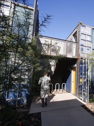 In the Containers on Grand project, the apartments are designed in a way that retains the corrugated metal exteriors of the shipping containers. Each unit is made of two containers, but inside there are no signs of the cargo hauling days.