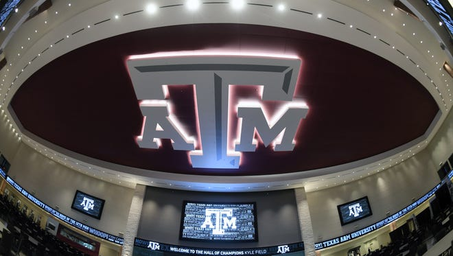 General overall view of the Texas A&M Aggies logo at the Hall of Champions at Kyle Field.