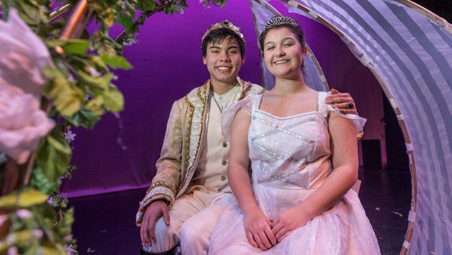"""El Diamante students Allison Martin, right, and Chase Canterbury rehearse for the musical """"Cinderella"""" at LJ Williams Theater on Friday, January 5, 2018."""