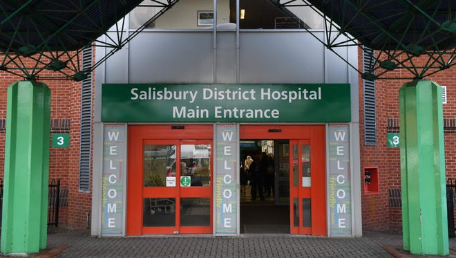 In this file photo taken on March 6, 2018 a general view shows the main entrance to Salisbury District Hospital in Salisbury, southern England.