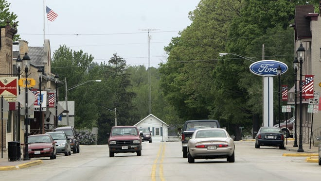 Traffic moves along Main Street, also known as State 15, in downtown Hortonville.