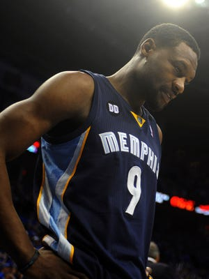 Memphis Grizzlies guard Tony Allen reacts to a play against the Oklahoma City Thunder.