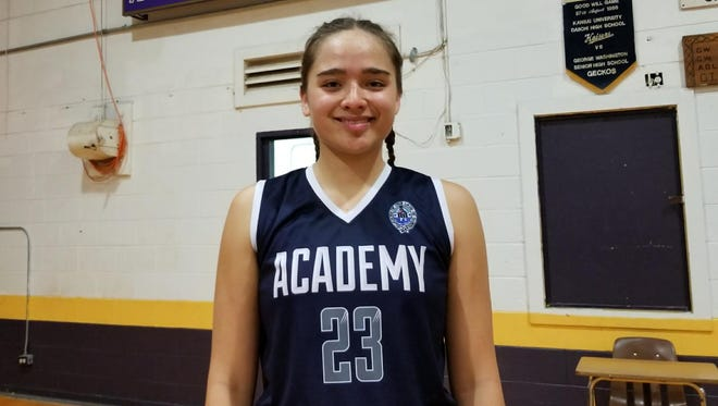 Mia San Nicolas of the Academy Cougars led all scorers with 24 points as her team beat the George Washington Geckos 60-34 in the IIAAG Girls Basketball League.