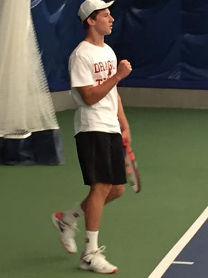 Dallas High senior Thomas Gniadecki during his semifinal match in the  OSAA 5A boys state tennis championships.
