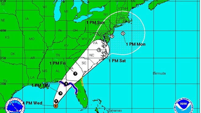 Tropical Storm Hermine as of 5 p.m. on Wednesday.