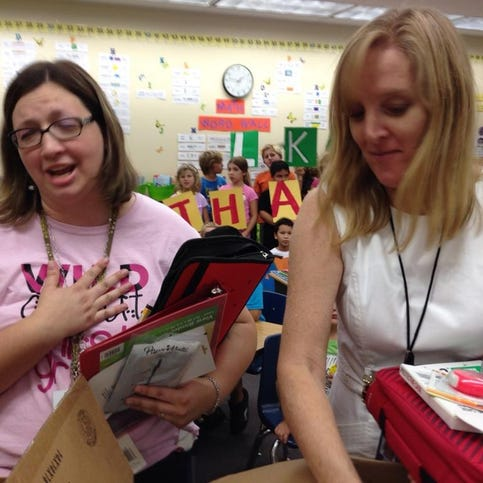 PHOTOS: Delivering the 10 News Teacher's Toolboxes