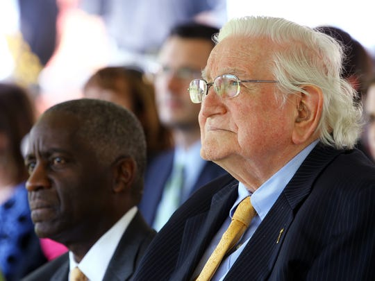 Judge G. Ross Anderson, right, and Mayor Terence Roberts, listen as Anderson University President Evans Whitaker, not shown, speaks during a 2015 groundbreaking for the G. Ross Anderson, Jr. Student Center Wednesday afternoon.
