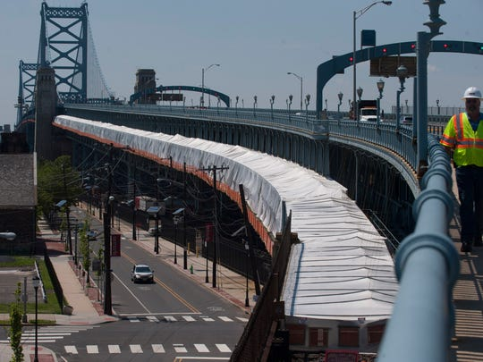 File: Construction continues on the PATCO Hi-Speedline on the Ben Franklin Bridge.