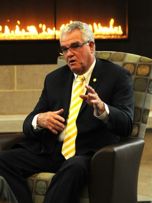 Former University of Wisconsin-Oshkosh Chancellor Richard Wells speaks to a USA TODAY NETWORK-Wisconsin reporter in advance of his 2014 retirement.