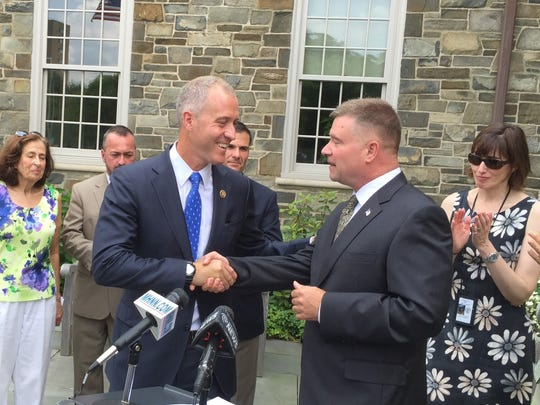 U.S. Rep. Sean Patrick Maloney, left, D-Cold Spring,