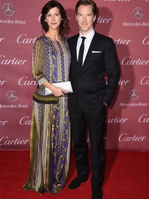 Sophie Hunter, left, and Benedict Cumberbatch arrive at the 26th annual Palm Springs International Film Festival Awards Gala on Saturday in Palm Springs, Calif. The couple is expecting a baby.