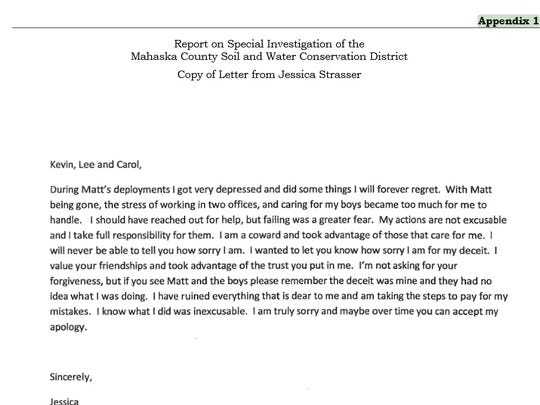 This is the letter Jessica Strasser wrote to her former coworkers following her resignation and the launch of a state embezzlement investigation.