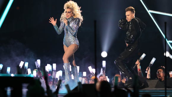 Feb 5, 2017; Houston, TX, USA; Lady Gaga performs during the halftime show during Super Bowl LI at NRG Stadium. Mandatory Credit: Eric Seals-USA TODAY Sports ORG XMIT: USATSI-348602 ORIG FILE ID: 20170205_rvr_usa_076.jpg