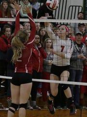 Lourdes Academy's Rachel Aasby tips a shot past Marshall's