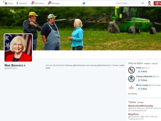 Mae Beavers is blocking Twitter accounts she apparently