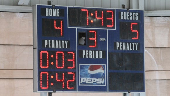 Scoreboard at Ebersole Ice Rink in White Plains.