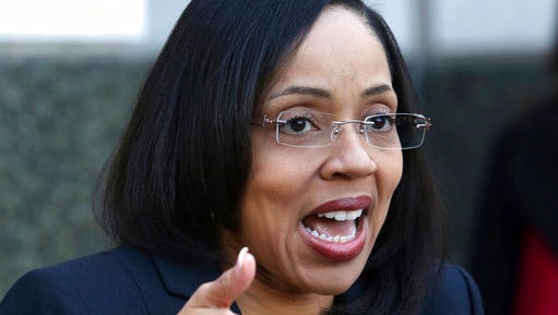 In a press conference on the steps of the Orange County Courthouse, Florida Orange-Osceola State Attorney Aramis Ayala announces Thursday, March 16, 2017, that her office will no longer pursue the death penalty as a sentence in any case brought before the 9th Judicial Circuit of Florida.