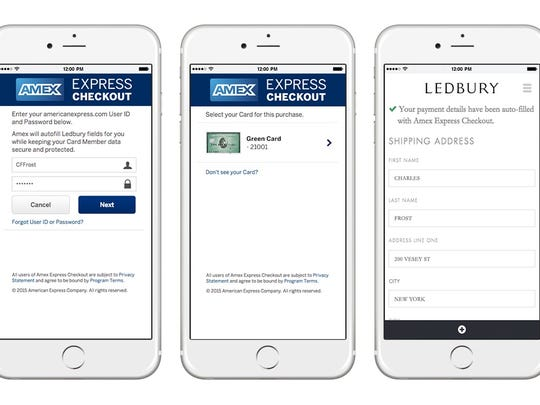 Using Amex Express Checkout on a phone.