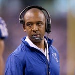 Indianapolis Colts offensive coordinator Pep Hamilton in the first half of their game. The Indianapolis Colts host the Cincinnati Bengals in the AFC Wild Card game Sunday, January 4, 2015, afternoon at Lucas Oil Stadium.