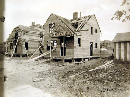 The framing of a 1918 home in Bremerton was created with the area's old growth timber. Many of the homes built then under a federal government project still stand. Congress paid for roughly 170,000 units around the country to help house shipyard workers.
